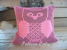 Filet Crochet Owl Pillow Pattern by LithonyDesigns on Etsy Filet Crochet, Thread Crochet, Irish Crochet, Double Crochet, Crochet Doilies, Crochet Owl Pillows, Crochet Owls, Burlap Pillows, Crochet Baby