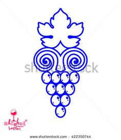 Stylized grape vine vector illustration. Winery symbol best for use in advertising and graphic design. Creative Grape with vine tendrils and leaves isolated on white.