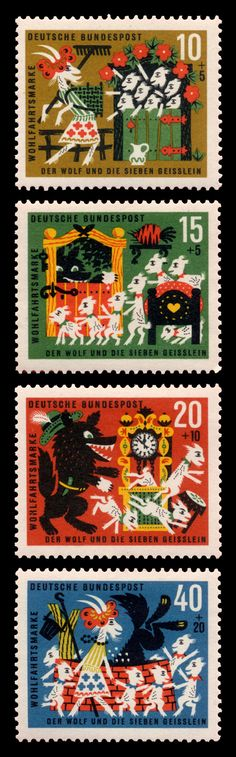 wolf and seven goats stamp germany Kids Stamps, Love Stamps, Book Illustration, Illustrations, Postage Stamp Design, Wolf, Vintage Stamps, Mail Art, Stamp Collecting