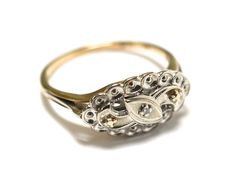 30s 10K Gold Art Deco Ring  White Gold by RubyInTheDustVintage, $325.00