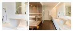 Goccia Aufsatzwaschtisch ø 500mm H-279mm in Gres weiß, art. 39133.519 mit Goccia Waschtischarmatur hoch H-745mm chrom, art. 33610.031, ausgestellt in der Panoramasuite des Hotel Valserhof in Vals