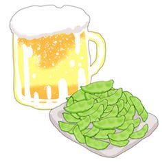 owabird Picture Blog #お絵描き : 今日は枝豆とビールの絵を描いてみたというお話です。