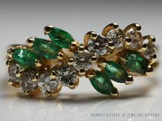 see more on our website: www.hawaiijewelrybuyers.com and follow our ebay auctions www.ebay.com/usr/jewelrybuyershawaii #VINTAGE 14K YELLOW GOLD NATURAL #MARQUISE #EMERALD & #DIAMOND SWIRL BAND RING SZ 6