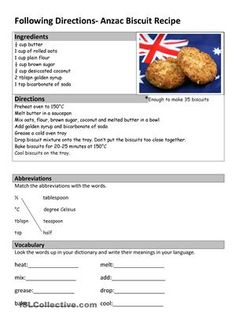 Activity 1. Read the recipe and answer the questionsActivity 2. Ingredients: tick the ingredients you needActivity 3. Rewrite the instructions using the pictures. Match the written instructions with pictures - ESL worksheets