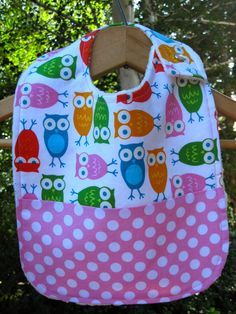 Owls and polka dots baby bib