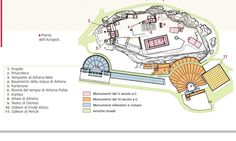 GLI EDIFICI: -Partenone -Eretteo -Propilei -Tempio di Atena Nike -Santuario di Egeo -Santuario di Artemide Brauronia -Calcoteca -Pandroseion -Arrephorion -Santuario di Zeus Polieus -Teatro di Dioniso -Odeo di Pericle -Santuario di Dioniso -Peripatos -Grotte di Apollo Hypocraisus -Zeus -Olimpio e Pan -Santuario di Afrodite ed Eros -Pinacoteca