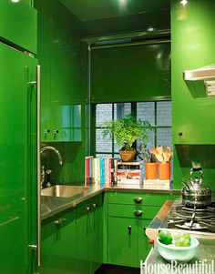 Green apartment kitchen. Design: Miles Redd. Photo: Thomas Loof. housebeautiful.com #kitchen #green