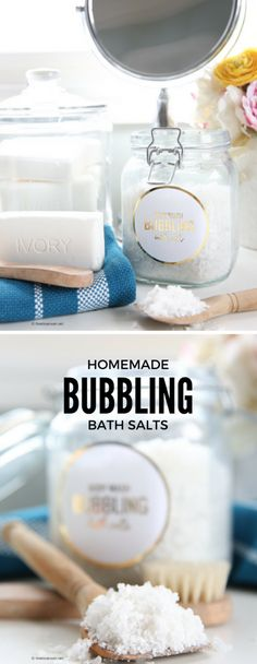 Spa Recipes | Bath Salts | These Bubbling Bath Salts are made with Ivory's Aloe Body Wash and leave the skin feeling soft and smooth. Add 1/4 cup to a warm bath to enjoy the bubbling and soothing effects of the bath salts. #ad