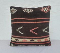 23x23 inch,VINTAGE Home Decor, Handwoven, Large  Turkish Kilim Pillow Cover,  Embroidered Decorative Throw Pillows,Tribal Pillows.