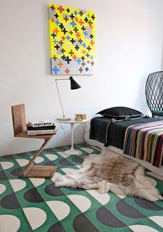 La casa dei Popham design a Marrakech. Piastrelle Popham Design. Seduta Zig Zag…