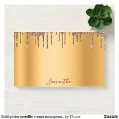 Gold glitter metallic bronze monogram luxurious post-it notes Drip Painting, Sweet Notes, Note Paper, Sticky Notes, Gold Glitter, Hand Lettering, Adhesive, Metallic, Monogram