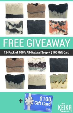 Enter to Win 12-Pack of 100% Vegan, Handmade All-Natural Soap + BONUS $100 Gift Card! Winner announced on April 15th. Sign up today!