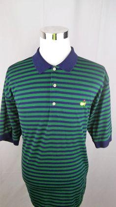 Masters Mens Polo Golf Shirt Striped Shirt Size XL #Masters #Golf