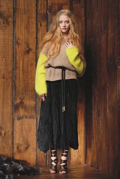 Fall 2013 Trend: Knitting Pretty - Shae's cashmere sweater worn with Juan Carlos Obando's silk skirt and belt. Scosha ring; Manolo Blahnik for Juan Carlos Obando sandals.
