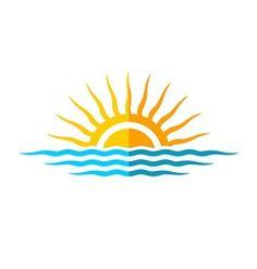 Travel logo template Sun with sea waves vector Sun Designs, Paint Designs, Waves Vector, Sun Logo, Tree Logos, Sun Art, Travel Logo, Sea Waves, Fabric Painting
