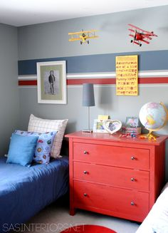 Boy Bedroom - Children's - Bedroom - Images by SAS Interiors | Wayfair....cute stripes just one wall for an accent