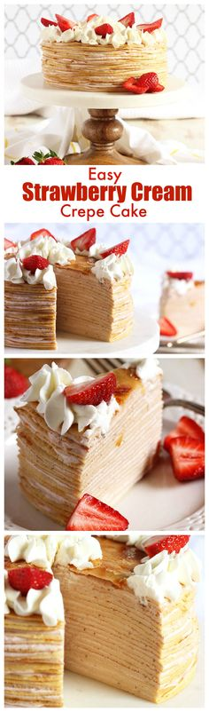 No baking required to make this easy Strawberry Cream Crepe Cake recipe. Perfect… No baking required to make this easy Strawberry Cream Crepe Cake recipe. Easy Cake Recipes, Sweet Recipes, Crepe Recipes, Food Cakes, Cupcake Cakes, Cake Cookies, Crape Cake, Just Desserts, Delicious Desserts