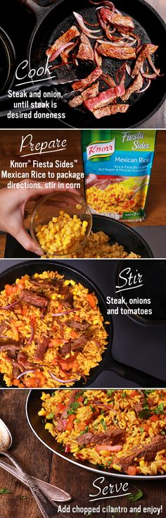 Mexican Rice - Knorr Mexican Steak Salsa & Rice! With only 6 ingredients, this one-skillet recipe is quick & easy to make. Just melt spread over medium-high heat. Then, cook steak and onion until steak is at its desired doneness. Remove & set aside. Prepare Knorr® Fiesta Sides™ - Mexican Rice in same skillet according to package directions, stirring in corn during the last 5 minutes of cook time. Then, stir in steak, onions and tomato. Garnish with chopped fresh cilantro!