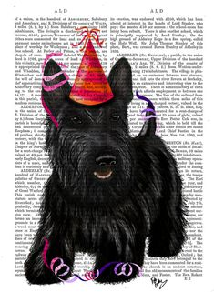 Happy New Year! Scottish Terrier Scottie Dog Party Hat, Scotland, dog art, dog picture, digital print wall hanging