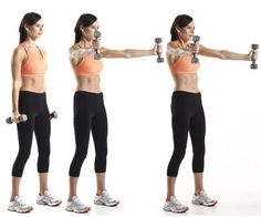 "Scaption and Shrug:  Stand holding a pair of dumbbells with your feet shoulder-width apart. Let the dumbbells hang at arm's length next to your sides, your palms facing each other. Without changing the bend in your elbows, raise your arms until they're parallel to the floor, keeping them at a 30-degree angle to your body (so that they form a ""Y""). At the top of the movement, shrug your shoulders upward. Pause, then reverse the movement to return to the start, and repeat."