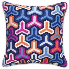 JONATHAN ADLER Pink And Blue Bargello Hazard Pillow