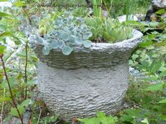 The textures of this hypertufa pot give a hint of its origins; the basket that was used as a mold was sacrificed to make this gorgeous planter for succulents...