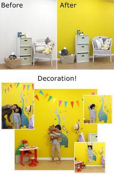子供部屋の壁を黄色に塗り替えてみました! nursery yellow wall