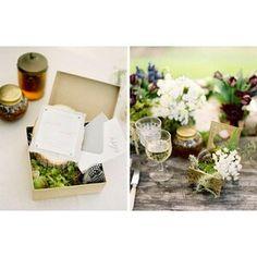 Invitation box with moss