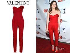 Kristen Wiig's Valentino Strapless Wool Blend Twill Jumpsuit - Red ...