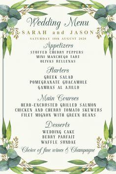 Copy of Wedding Menu Template Wedding Menu Template, Wedding Invitation Templates, Wedding Invitations, Berry Wedding Cake, Wedding Desserts, Design Templates, Menu Templates, Invert Colors, Promotional Flyers