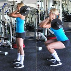 Front squat: Work your quads and hamstrings with this hardcore move.  Look at her form, feet width, hamstrings parallel to the floor, eyes forward, tight core!