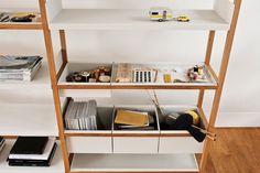 Clever modular shelving replaces flat shelves with bins. Marina Bautier | Lap shelving