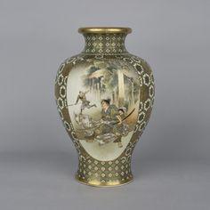 Satsuma Vase Meiji Period 1868 - 1912 Signed Kinkozan