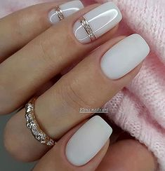 "One of the most important trends in the world of manicure in 2020 become ""milk nails"" or «Milky Nails Glam Nails, Bling Nails, Cute Nails, Square Nail Designs, Nail Art Designs, Nails Design, Neutral Nail Designs, Stylish Nails, Trendy Nails"