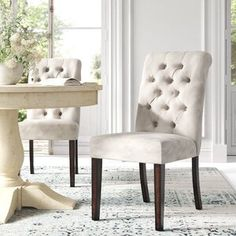 Kelly Clarkson Home Sylvan Extendable Dining Table & Reviews | Wayfair Chunky Dining Table, Dining Room Table, Table And Chairs, Side Chairs, Parsons Chairs, Wood Countertops, Extendable Dining Table, Chair Upholstery, Engineered Wood