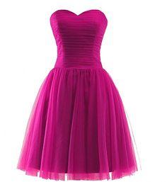 La Marie Braut Elegant Festliche Kleider Jugendweihe Kleider Damen  Abendkleider Kurz Brautjungfernkleider -34 Rosa  Amazon 243cf375b7