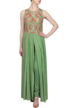 Green color kurta with pant – Panache Haute Couture