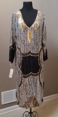 Large size vintage 100% silk heavily sequined gold and silver evening gown   NOS