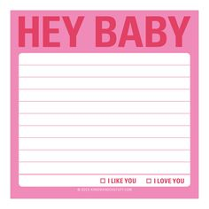 Knock Knock Hey Baby Sticky Note is a cute sticky notepad. Fun office supply or cute gift for your boyfriend or girlfriend on Valentine's Day–or any day!