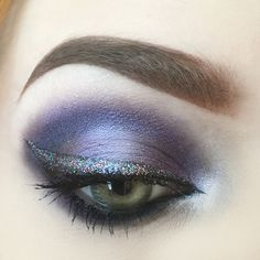 "eyes are #sugarpill cold chemistry palette, #nyxcosmetics liquid liner in black with @starcrushedminerals ""let them eat cake"" glitter pressed on top. I love this glitter 