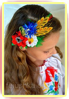 Handmade headband with poppy flower cornflower and by FEIUSHKA