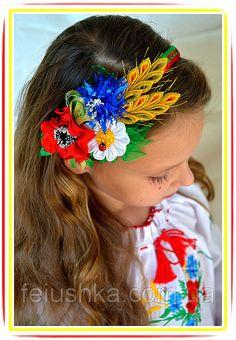 Handmade headband with poppy flower cornflower and by FEIUSHKA