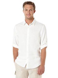 $18 - Perry Ellis - Roll Sleeve Solid Linen Shirt