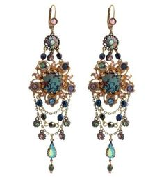 Michal Negrin Stunning Dangle Earrings Designed with Hand Painted Flowers, Glass Beads, Tear Drop and Blue, Purple, Light Pink, Green Swarovski Crystals: Michal Negrin: Jewelry
