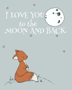 Fox Nursery Art - I Love You to the Moon and Back - Woodland Nursery Art
