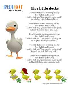 Five Little Ducks / 5 little ducks nursery rhyme lyrics Free printable nursery rhyme lyrics page. Five Little Ducks / 5 little ducks nursery rhyme lyrics. by Bluebot animation. (TAG : Nursery Rhyme (Literature Subject), - Kids education and learning acts Nursery Rhymes Lyrics, Kids Nursery Rhymes, Rhymes For Kids, Nursery Ideas, Poems For Nursery, Rhyming Preschool, Farm Animals Preschool, Jungle Activities, Movement Activities