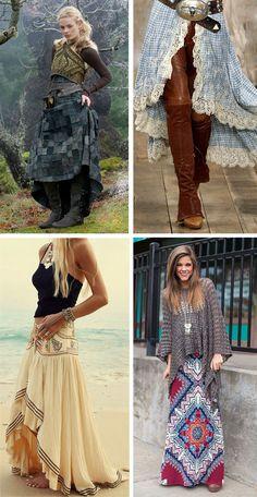 Юбка бохо фото: длинная, многослойная, с чем носить