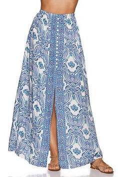 Go boho in this blue and white paisley print maxi skirt with a wide smocked waist, sexy front slit with button details and sparkling sequin and bead embellishment. Printed Skirt Outfit, Pencil Skirt Outfits, Printed Maxi Skirts, Cool Outfits, Casual Outfits, Fashion Outfits, Maxi Skirt Winter, Handmade Skirts, Western Dresses