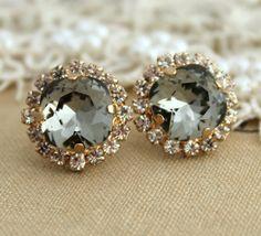 Black diamond Smoky Gray Crystal Rhinestone stud by iloniti