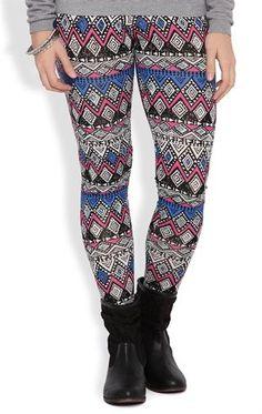 Deb Shops #Legging with Magenta and Cobalt Global Print $10.00